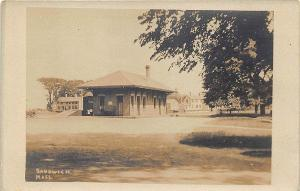Sandwich MA Cape Cod Railroad Station Train Depot Real Photo Postcard