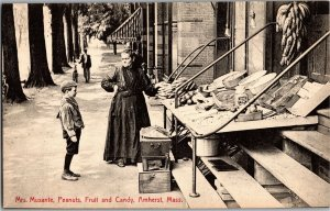 Mrs. Musante Peanuts Fruit & Candy Amherst MA South Pleasant St Vtg Postcard R29