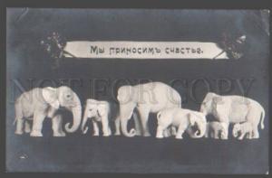 098981 Happy ELEPHANT Figures EASTER Vintage PHOTO Russian PC