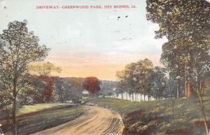 Des Moines Iowa~Greenwood Park~Downhill Drive to Pond~Gravel Road~1908 Postcard
