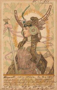 Artist Signed Basch Arpad Art Nouveau Warrior Lady RARE!! - 04.58