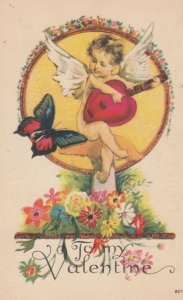 VALENTINE'S DAY Butterfly #5 , Cherub Playing Heart shaped Guitar , 1924