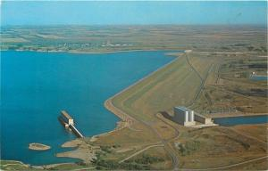 Riverdale North Dakota~West End Garrison Dam Aerial View~1960s Postcard