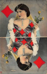 Queen of Diamonds Playing Card Raphael Tuck #307B. Postcard