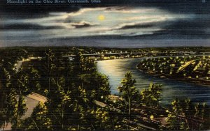 Ohio Cincinnati Moonlight On The Ohio River 1944
