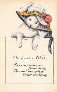 M Dulk~Fantasy Easter~White Bunny In Ladies Hat~Feather Bonnet~1920s IPCC