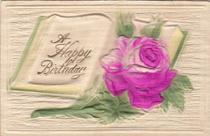Birthday Red Rose with Open Book Embossed