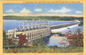 P1874 old postcard conowingo dam & power house maryland unused
