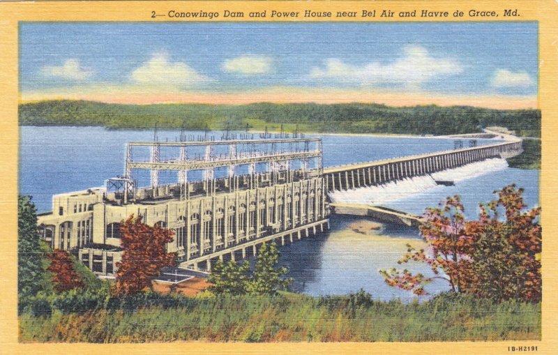 P1874 old postcard conowingo dam & power house maryland unused