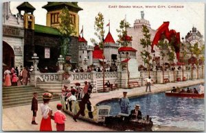 Vintage 1910s WHITE CITY AMUSEMENT PARK Chicago Postcard EAST BOARD WALK Unused
