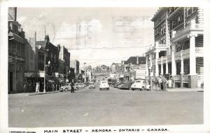 Kenora Ontario~Main Street~Bijou Theatre~Bakery Tea Room~Safeway 1940s Cars~RPPC