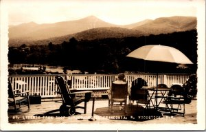 Liberty from roof top garden hotel Franconia woodstock NH RRPC vintage postcard