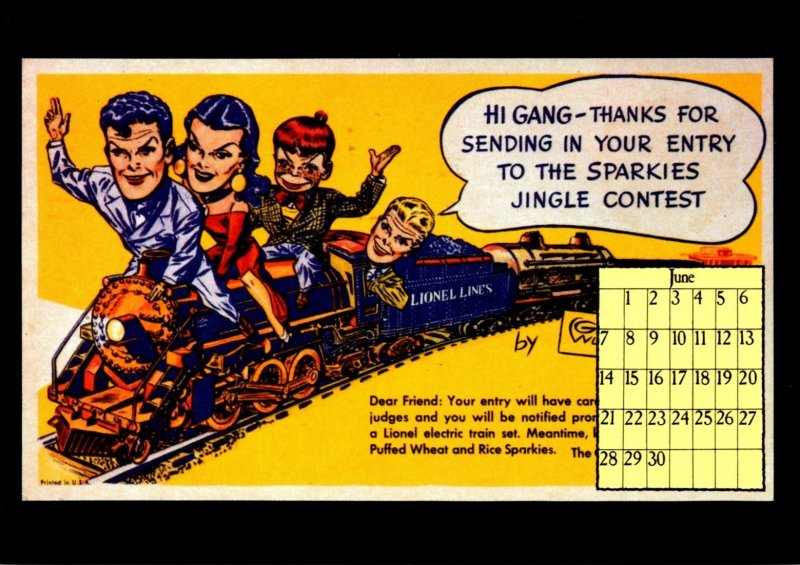 1987 Calendar Series June Lionel Train Terry and The Pirates