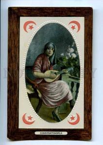 241101 TURKEY CONSTANTINOPLE girl musician Vintage embossed
