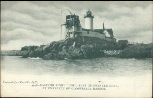 Gloucester MA Eastern Point Lighthouse c1910 Postcard - Version #12