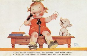 Child With Antique Telephone Telegram Advertising Postcard