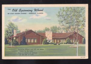 HINSDALE ILLINOIS OLD SPINNING WHEEL RESTAURANT ADVERTISING POSTCARD