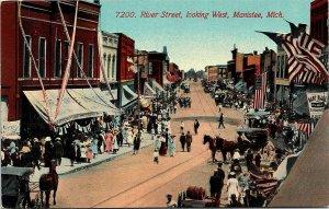 Postcard MI Manistee River Street Looking West Baseball Sign 4 July C. 1910 L17