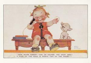 Mabel Lucie Atwell Girl On Telephone With Dog British Telecom Postcard