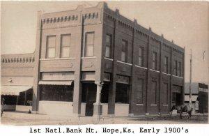 H49/ Mt Hope Kansas RPPC Postcard REPRINT c1950s 1st National Bank 2