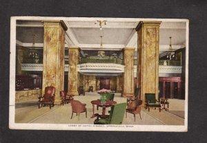 MA Hotel Kimball Lobby Springfield Mass Massachusetts Postcard 1915