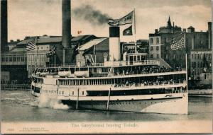 Toledo Ohio~Steamship Greyhound, Full of Passengers~Stolberg Park Sign~c1910 UDB