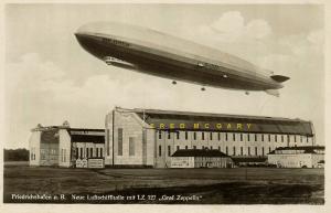 1928 Friedrichshafen Germany RPPC: Graf Zeppelin's New Hangar & Its Dimensions