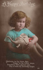 Sad Child Holds Dead Looking Toy Elephant WW1 Greetings Postcard