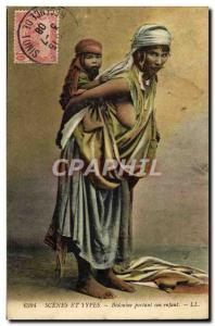 Postcard Old Woman Nude erotic Bedouine carrying her child