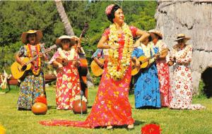 Honolulu Hawaii~Ladies Dancing the Hula on Waikiki Beach @ Kodak Hula Show~1960s