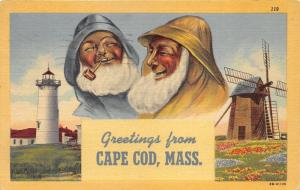 Cape Cod Massachusetts~Old Sailors-Smoking Pipe~Light House~Wind Mill~1952 Pc