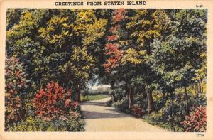 Staten Island New York Greetings From view down country road antique pc ZA440654