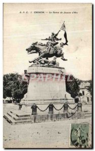 Old Postcard Chinon The Statue of Joan of Arc