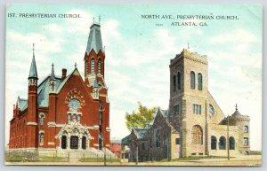 Atlanta Georgia~1st & North Avenue Presbyterian Churches~Side by Side~1908