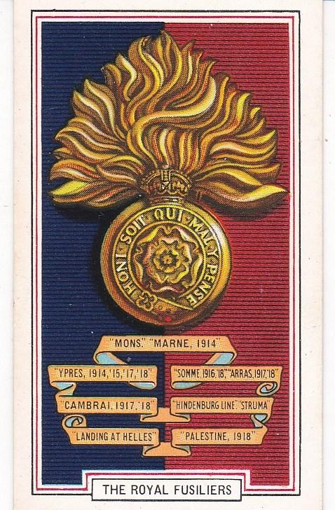 Cigarette Cards Gallaher ARMY BADGES No 30 The Royal Fusiliers
