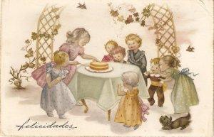 Children  Birthday Party Lovely Spanish Greetings PC 1950s