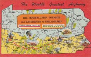 Map Of The Pennsylvania Turnpike The World's Greatest Highway
