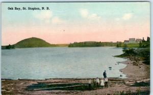ST. STEPHEN, NEW BRUNSWICK Canada   View of OAK BAY  ca 1910s  Postcard