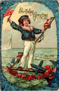 ANTIQUE EMBOSSED BIRTHDAY YOUNG Patriot Flag Child made in Germany POSTCARD