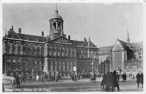 Netherlands Amsterdam Paleis op de Dam, Palace, animated bicycles, auto car 1950