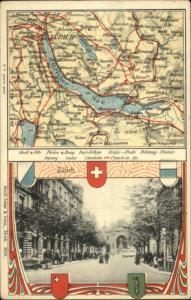 Zurich Switzerland Detwailed Map Decorative Border c1910 Postcard