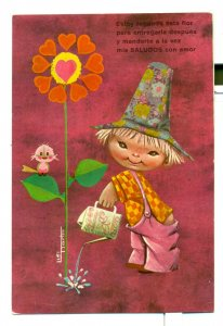 Postcard My Greetings With Love Watering A Flower Bird 6x4 VPC03.