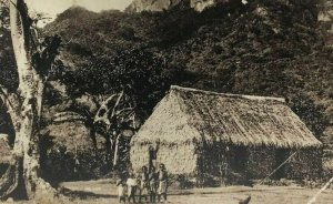 Namosi Fiji Postcard Real Photo RPPC Children Standing in Front of Hut