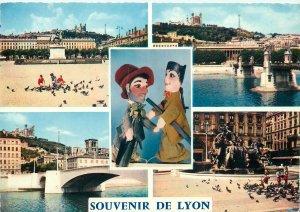 Postcard France multi view souvenir de lyon bridge dolls statue monument birds