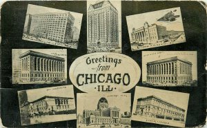 Greetings from Chicago Illinois IL pm 1910 multiview Postcard
