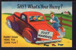 Say What's Yor Hurry? Car,Couple,Policeman Comic