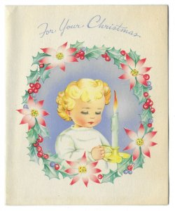 VINTAGE 1940s WWII ERA Christmas Greeting Holiday Card CHILD WITH CANDLE Wreath
