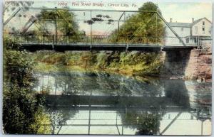 Grove City, Pennsylvania Postcard Pine Street Bridge Wolf Creek 1911 Cancel