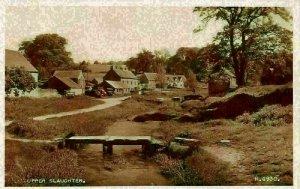 Upper Slaughter River Village Houses Postcard