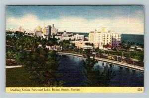 Miami FL-Florida, View Of Lake Pancoast, Hotels, Atlantic Ocean, Linen Postcard